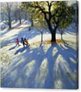 Markeaton Park Early Snow Canvas Print