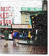 Market In Rain J005 Canvas Print