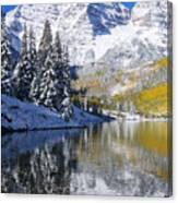 Maroon Lake And Bells 2 Canvas Print
