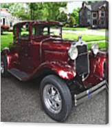 Maroon Vintage Car Canvas Print