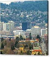 Marquam Bridge By Portland City Skyline Panorama Canvas Print