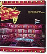 Marquee Motel 1960's Wildwood, Nj, Copyright Aladdin Color Inc. Canvas Print
