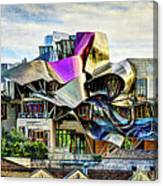 marques de riscal Hotel at sunset - frank gehry - vintage version Canvas Print