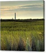 Marsh Grass And Morris Island Lighthouse Canvas Print
