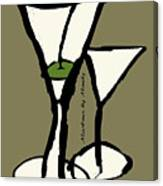 Martini With Green Background Canvas Print