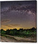 Marveling At The Creation Of God - Milky Way Panorama At Enchanted Rock - Texas Hill Country Canvas Print