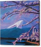Marvellous Mount Fuji With Cherry Blossom In Japan Canvas Print
