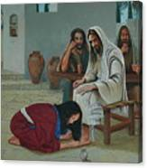 Mary Anoints The Feet Of Jesus Canvas Print