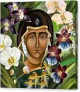 Mary With Orchids Canvas Print