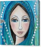 Mary With White Rosary Beads Canvas Print