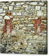 masonry Locked windows on the stone wall Canvas Print