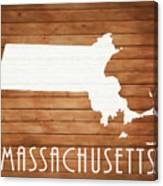 Massachusetts Rustic Map On Wood Canvas Print