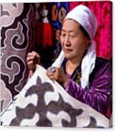Master Of Kyrgyz National Carpet - Shyrdak  Canvas Print