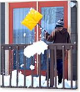 Mature Female Shoveling. Canvas Print