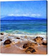 Maui Beach And View Of Lanai Canvas Print