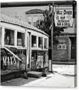 Max's Diner New Jersey Black And White Canvas Print
