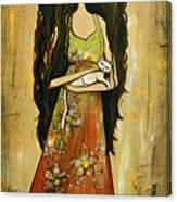 Maya And The Cat Canvas Print