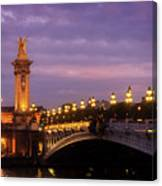 Bridge Of Alexandre IIi At Night Canvas Print