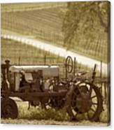 Mccormick Deering Tractor In Sepia Canvas Print