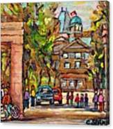 Mcgill Gates  Entrance Of Mcgill University Montreal Quebec Original Oil Painting Carole Spandau Canvas Print