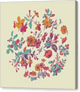 Meadow Flower And Leaf Wreath Isolated On Beige, Circle Doodle F Canvas Print