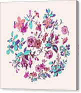 Meadow Flower And Leaf Wreath Isolated On Pink, Circle Doodle Fl Canvas Print