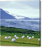 Meadow With Hay Bales And Glaciers Near Jokulsarlon Lagoon In Iceland Canvas Print
