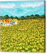 Meadow With Yellow Dandelions, Oil Painting Canvas Print