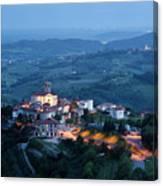 Medieval Hilltop Village Of Smartno Brda Slovenia At Dusk With S Canvas Print