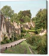 Medieval Houses In Arlington Row In Cotswolds Countryside Landsc Canvas Print