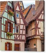 Medieval Houses In Ribeauville  Canvas Print