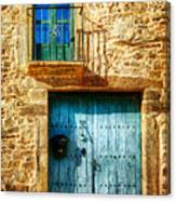 Medieval Spanish Gate And Balcony - Vintage Version Canvas Print
