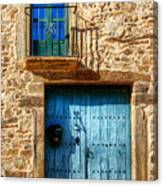 Medieval Spanish Gate And Balcony Canvas Print