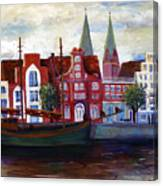 Medieval Town In Lubeck Germany Canvas Print