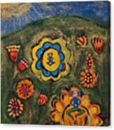 Meditating Master In Divine Garden Canvas Print