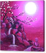 Meditating While Cherry Blossoms Fall Canvas Print
