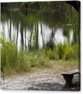 Meditation Spot By A Pond Canvas Print