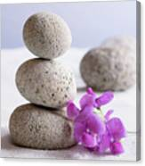 Meditation Stones Pink Flowers On White Sand Canvas Print