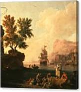 Mediterranean Harbor Scene Canvas Print