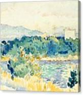 Mediterranean Landscape With A White House Canvas Print
