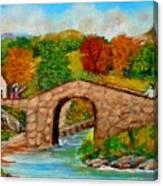 Meeting On The Old Bridge Canvas Print