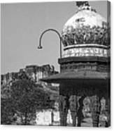Mehrangarh Fort - Approach With Caution Bw Canvas Print