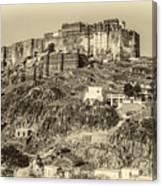 Mehrangarh Fort Sepia Canvas Print