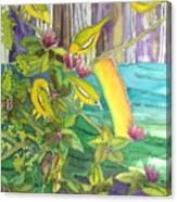 Mejiro Birds With Ohia Flower Canvas Print