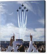 Members Of The U.s. Naval Academy Cheer Canvas Print