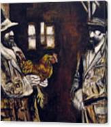 Men And Hen After A Photograph Shown On Pbs  Canvas Print