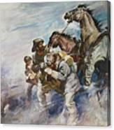 Men And Horses Battling A Storm Canvas Print