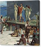 Men Bid On Women At A Slave Market Canvas Print