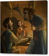 Men In A Hut Canvas Print