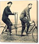 Men On Dual Bicycle, Cca 1900 Canvas Print